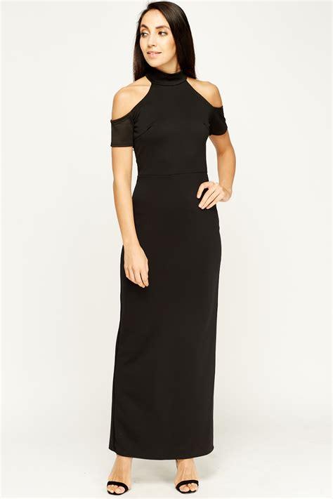 Cold Shoulder Maxi Dress halter neck cold shoulder maxi dress black just 163 5