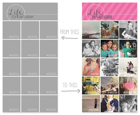 layout for instagram collage instagram collage templates for use with project life 174