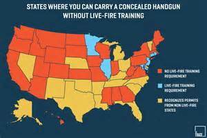 carolina concealed carry reciprocity map these states don t test your shooting skills before