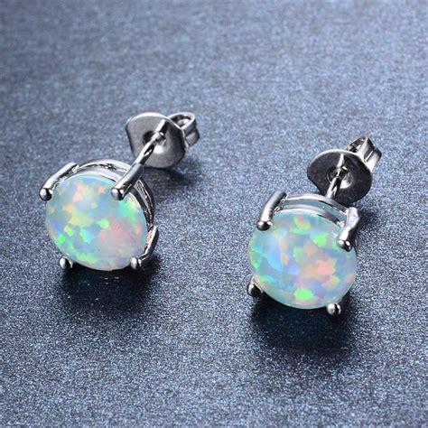 925 sterling silver crown white opal stud earrings 925 sterling silver four claw stud earrings for