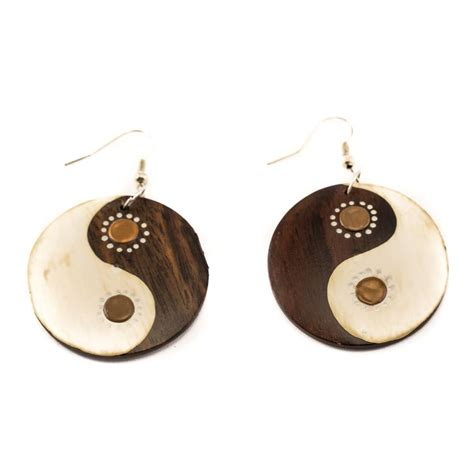 Wooden Name Ibu Areta painted wooden earrings yin yang brown