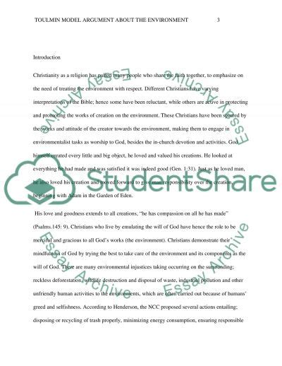 Toulmin Essay Exle by Toulmin Model Argument About The Environment Essay