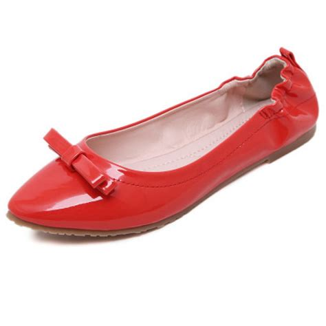 Patent Bow Flats patent pointed toe bow flats