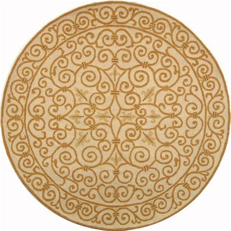 Rounds Rugs Safavieh Chelsea Ivory Gold 3 Ft X 3 Ft Area Rug Hk11p 3r The Home Depot