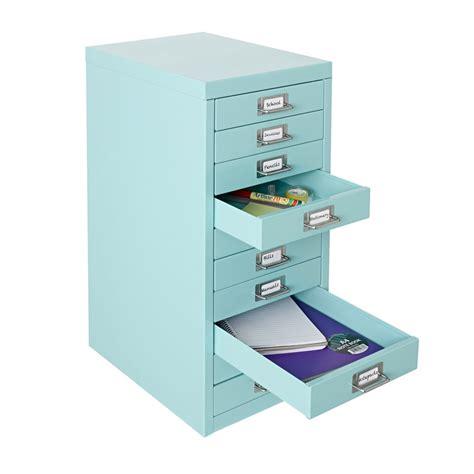 Desktop Filing Cabinet Spencer 10 Drawer Cabinet With Wheels Aqua Officeworks