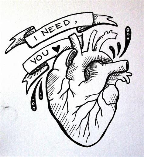 real simple design anatomical heart i need you illustration tattoo design
