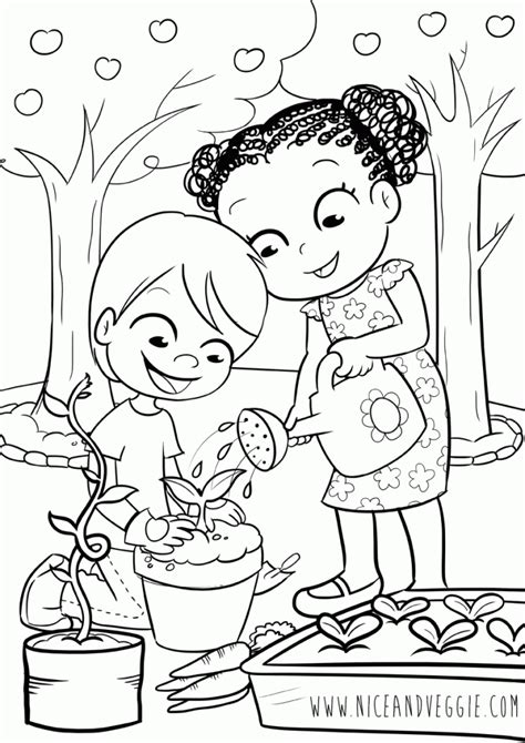 kids gardening coloring pages for children nice and