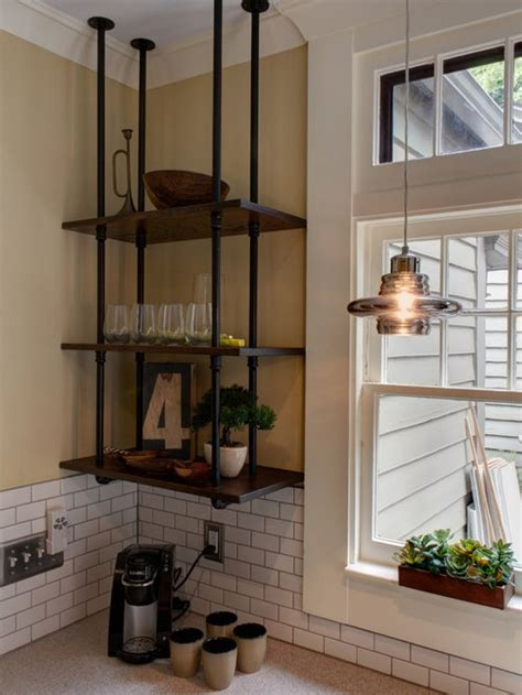 ceiling mounted shelves houzz