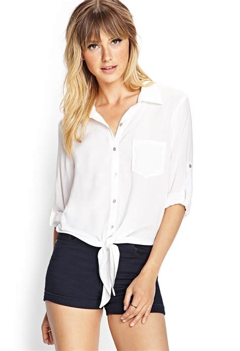 42166 White Front Tie Size S lyst forever 21 woven tie front shirt in white