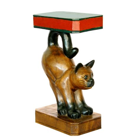 cat table carved painted wooden cat end table