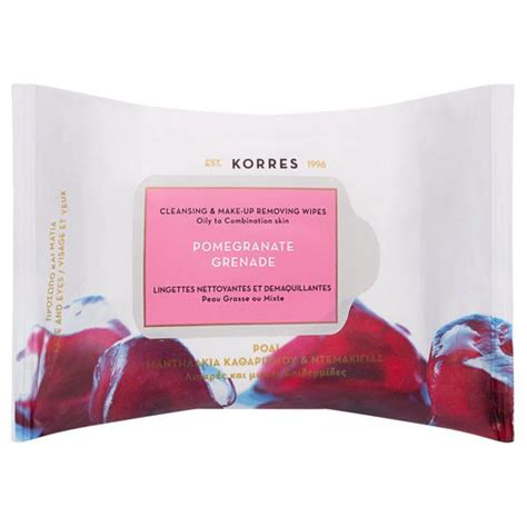 korres pomegranate cleansing makeup remover wipes for