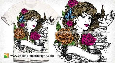 Kaos Skull Flower vector t shirt design with beautiful cupid