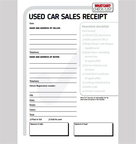 Car Receipt Template by Sle Car Sale Receipt Car Sale Receipt Template
