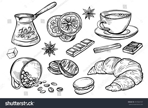 Handmade Sketches - doodleset coffee drawings handmade sketches stock vector