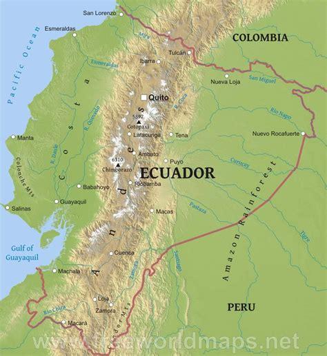 ecuador physical map ecuador physical map