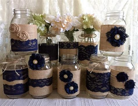 all themes 1 0 10 jar 10x rustic burlap and navy blue lace covered mason jar