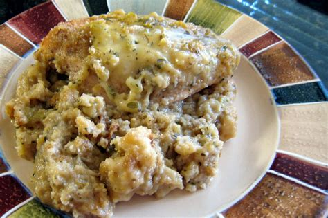 crockpot chicken and dressing with swiss cheese