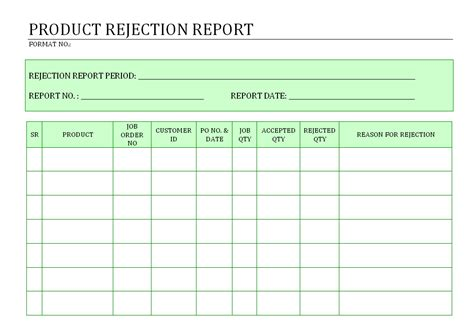 rejection template product rejection report