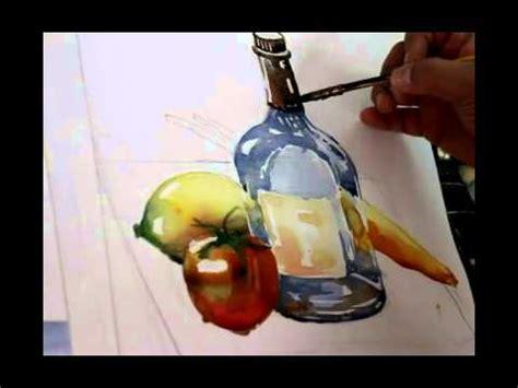 watercolor tutorial still life water color tutorial still life glass bottle lemon