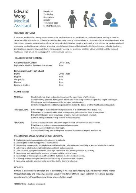 Sample Resume Objectives For Dietitian by Medical Cv Template Doctor Nurse Cv Medical Jobs