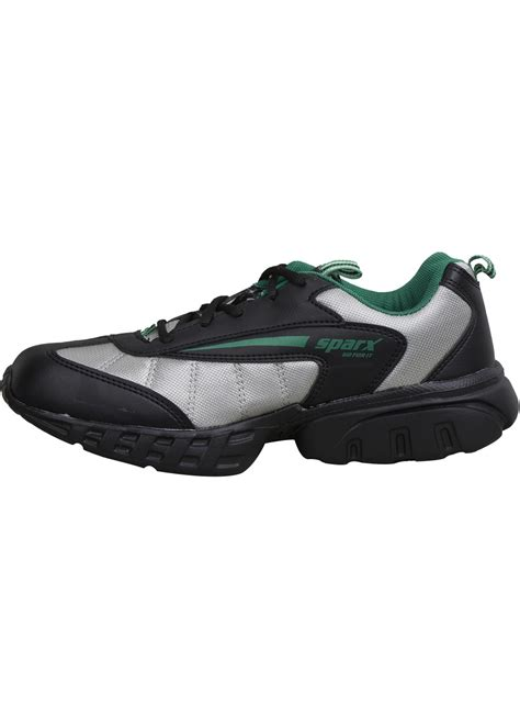 leather sports shoes buy sparx s black synthetic leather sports shoes