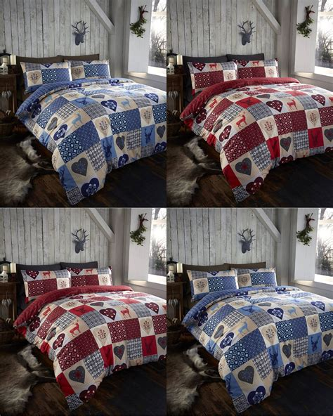 Rustic Stag Patchwork Reversible Duvet Quilt Cover Bedding Rustic Quilt Bedding Sets