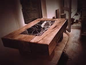 pobbles railway sleeper table