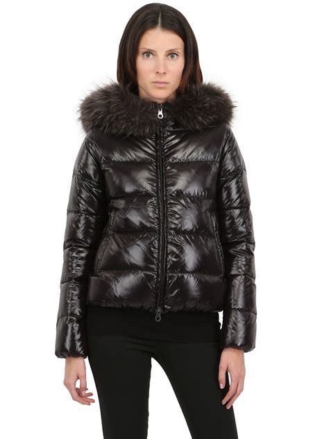 Goose Duvet Duvetica Adhara Nylon Down Jacket With Fur In Black For