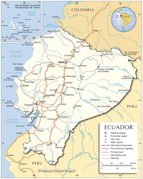 ecuador on map map of ecuador republic of ecuador maps mapsof net