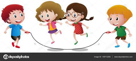 Imagenes De Niños Jugando Ala Cuerda | cuatro ni 241 os jugando saltan la cuerda vector de stock