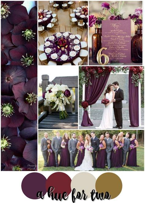 Plum, Cranberry, Cream and Gold Wedding Colour Scheme
