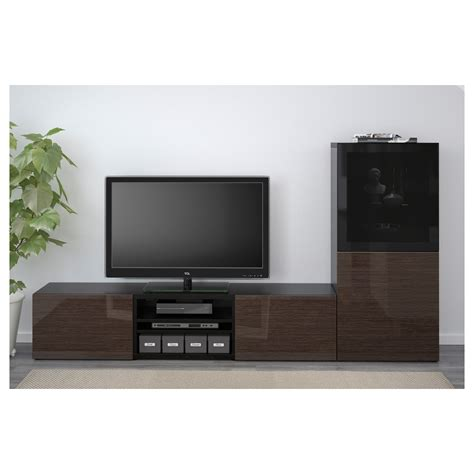 besta media storage best 197 tv storage combination glass doors black brown