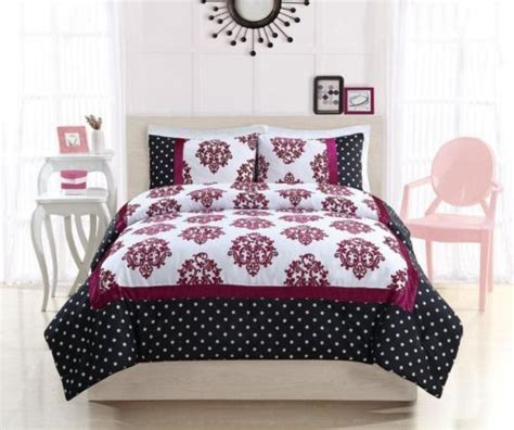 pink and black comforter sets full full girls teen black white pink polka dots damask