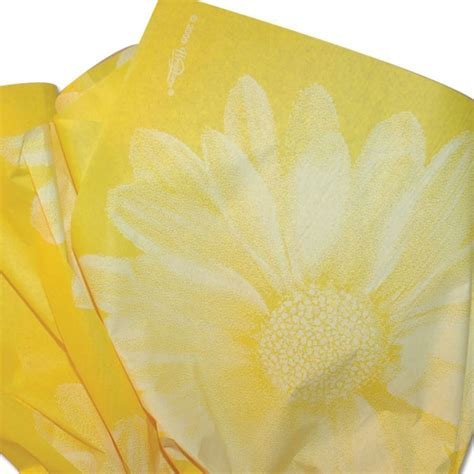 yellow patterned tissue paper big flower yellow printed tissue paper
