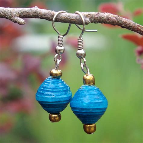 Anting Paperbeads Handmade 001 paper bead earrings blue ornaments4orphans org