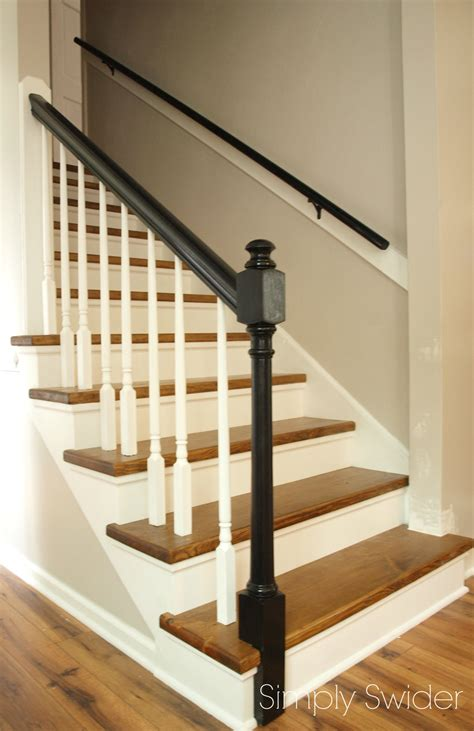 wood staircase carpet to wood stair makeover reveal simply swider