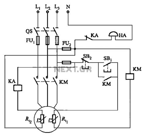 ptc resistor circuit gt automations gt motor circuits gt ptc phase asynchronous motor circuit protection one