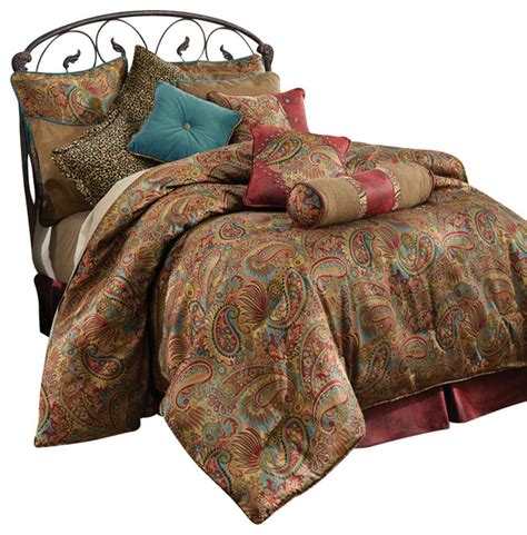 Leather Bedding Set Angelo Comforter Set Paisley And Faux Leather Rustic Comforters And Comforter Sets