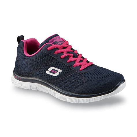 navy athletic shoes skechers s obvious choice navy pink running shoe