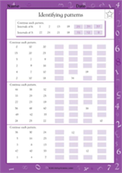 increasing pattern worksheet identifying increasing decreasing number patterns math