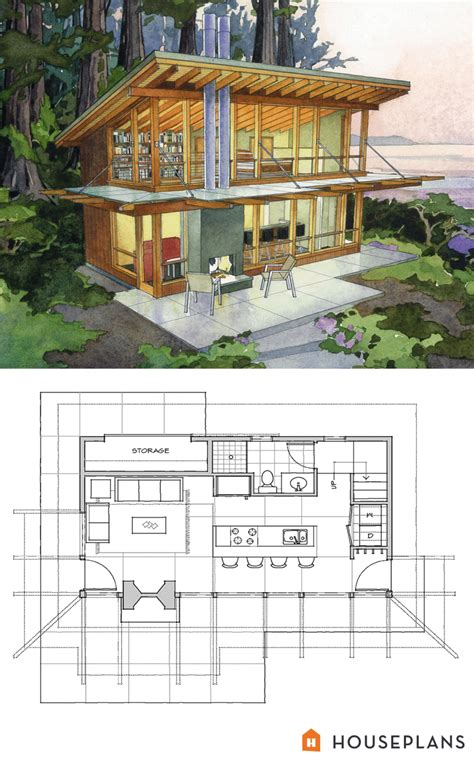 modern cabin design small modern cabin home plan by peter brachvogel and sheila corroso 800sft houseplans plan 479