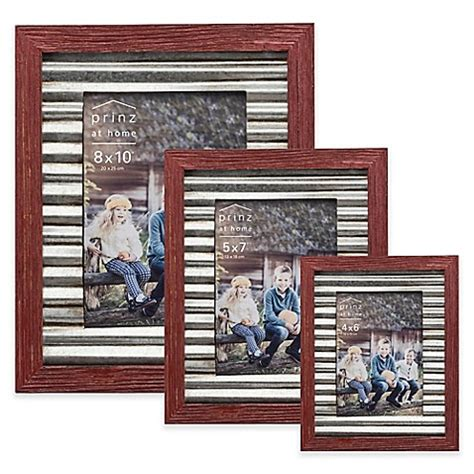 bed bath and beyond picture frames prinz galvanized metal and wood border picture frame in