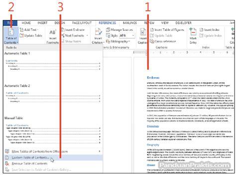 format tab untuk daftar isi cara membuat banyak daftar isi multiple table of contents