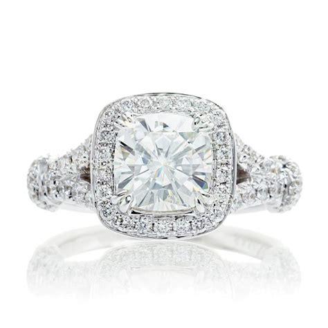 infinity setting cushion moissanite engagement ring halo infinity