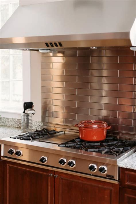 stainless steel backsplashes for kitchens stainless steel subway tile backsplash hgtv