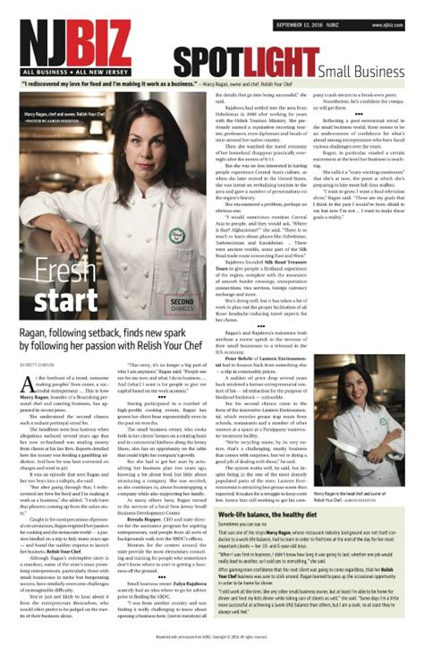 All The News Thats Fit To Eat Jan 9 by Chef Marcy Ragan In Spoltlight Small Businss On Nj Biz