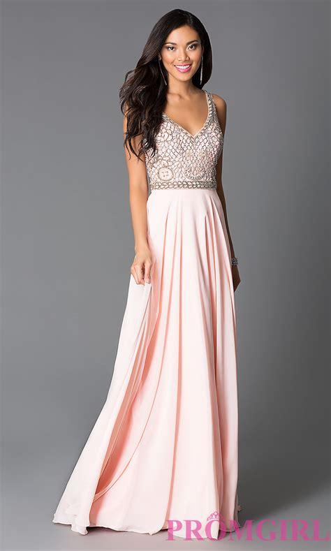 Prom Dresses by Beaded Pink Chiffon Prom Dress Promgirl