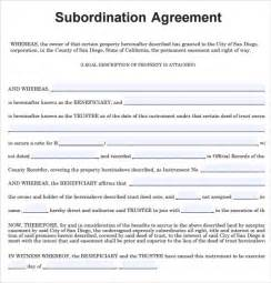 sample subordination agreement 8 example format