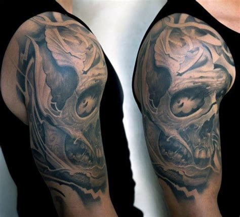 skull half sleeve tattoos for men half sleeve skull tattoos for www imgkid the