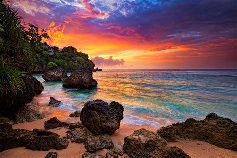 beautiful island sky waves sand ocean house trees
